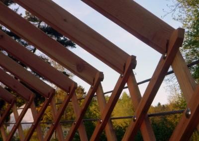 Le raccord entre les perches et le treilli