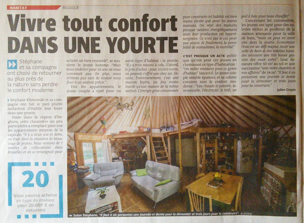 Article DH vie en yourte