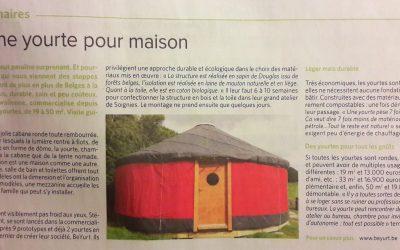 Un article sur BeYurt dans Le Soir du 9 août 2016