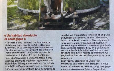 La vie en yourte et BeYurt dans Le Soir du 9 septembre